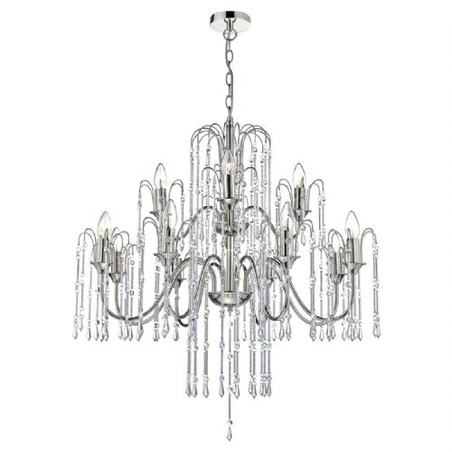 Daniella 12 Light Pendant Polished Nick Alum Rods DAN1238